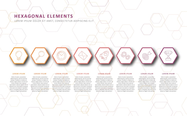 Infographic template with realistic 3d hexagonal elements. business process template with marketing stages