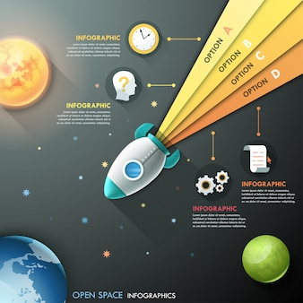 Infographic template with rocket and planets