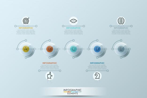 둥근 요소와 infographic 템플릿