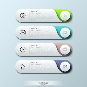 Infographic template with separate numbered rounded rectangles