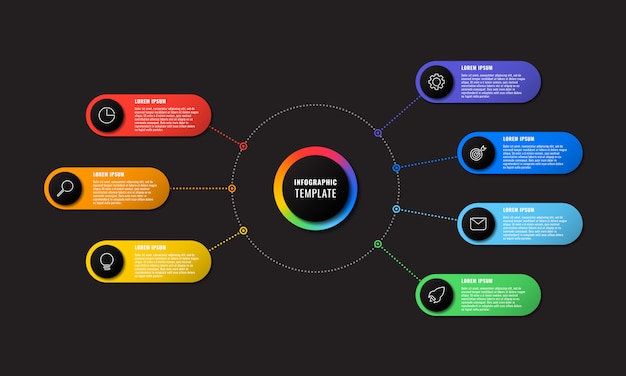 Инфографики шаблон с семью круглыми элементами на черном фоне. визуализация современных бизнес-процессов с тонкими линиями маркетинговых иконок.