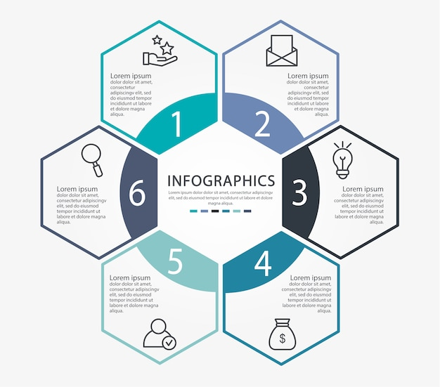 Infographic template with six elements