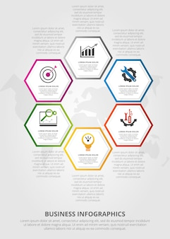 Infographic template with six hexagon elements