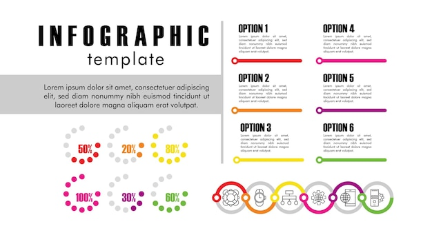 白いイラストデザインの統計情報とインフォグラフィックテンプレート