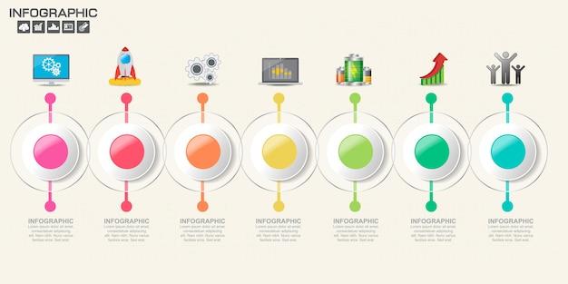 Инфографический шаблон с шагами и процессом для вашего дизайна. Premium векторы