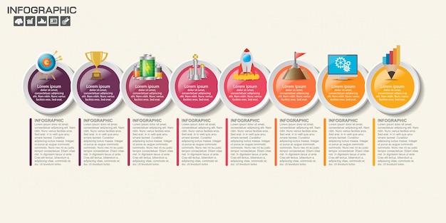Инфографический шаблон с шагами и процессом для вашего дизайна.