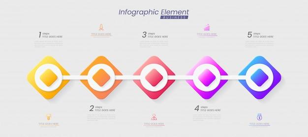 成功のためのステップを持つインフォグラフィックテンプレート。線のアイコン、組織要素グラフプロセステンプレートの編集可能なテキストでのプレゼンテーション。パンフレット、図、ワークフロー、タイムライン、webデザインのオプション