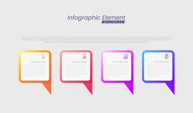 成功のためのステップを持つインフォグラフィックテンプレート。線のアイコン、組織要素グラフプロセステンプレートの編集可能なテキストでのプレゼンテーション。パンフレット、図、ワークフロー、タイムライン、webデザインのオプション Premiumベクター