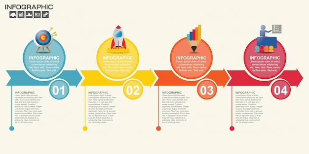 Infographic template with steps and process for your design.