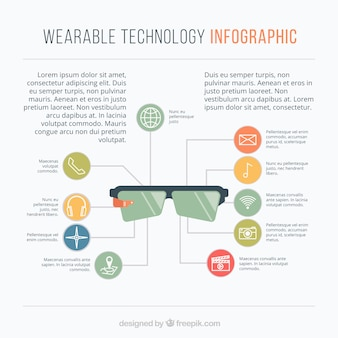 Infographic template with technological gadgets