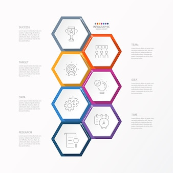 Infographic template with thin line icons and 7 options, process or steps.