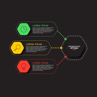 Infographic template with three hexagonal elements on black