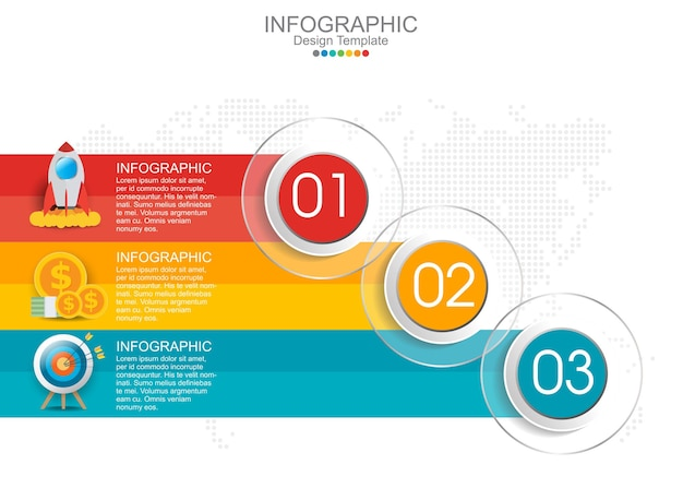 Infographic template with three options and icons.