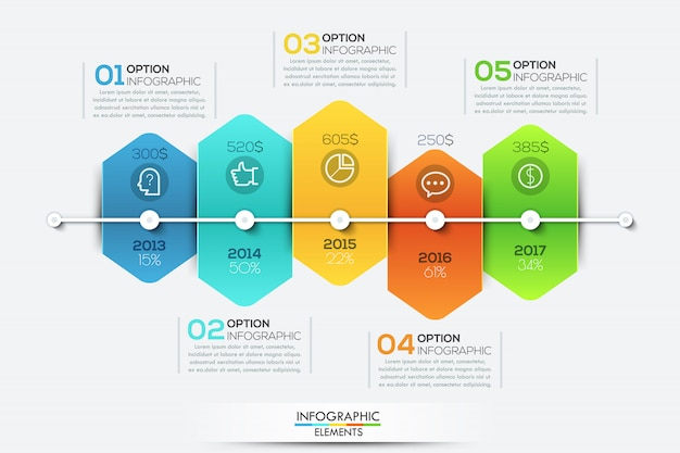 Infographic template with timeline and 5 connected hexagonal elements