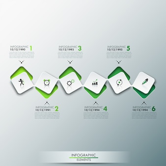 Infographic template with timeline and 6 connected square elements in green color