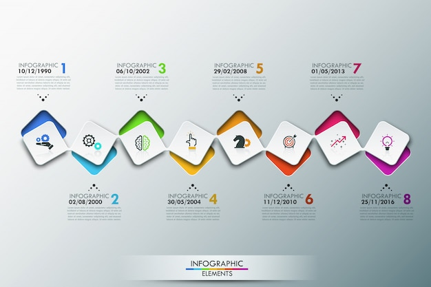 Infographic template with timeline and 8 connected square elements