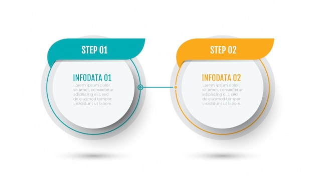 Infographic template with two steps