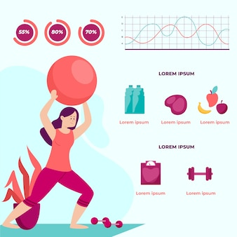 Infographic template with woman training
