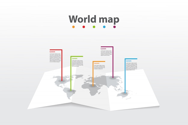 Infographic template world map, transport communication information plan position
