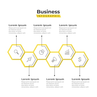 Infographic template yellow hexagon 5 steps