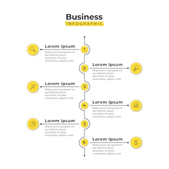 Infographic template yellow vertical 6 steps
