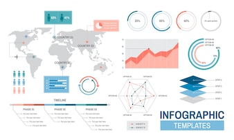 Infographic templates progress analysis charts graph