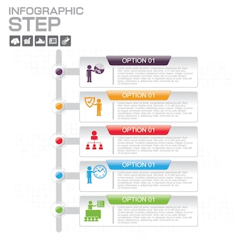 Infographic templates with 5 options for business