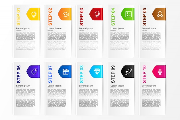 Infographic ten colors card option for business template