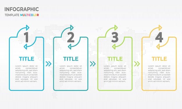 Infographic thin line design template process 4 options.