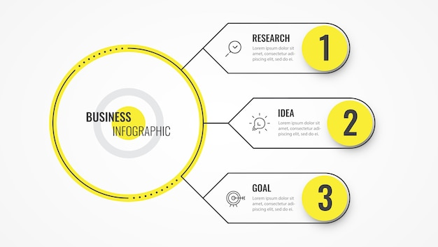 Infographic thin line design template with arrows and 3 options or steps.