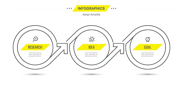 Infographic thin line design template with icons and 3 options or steps.