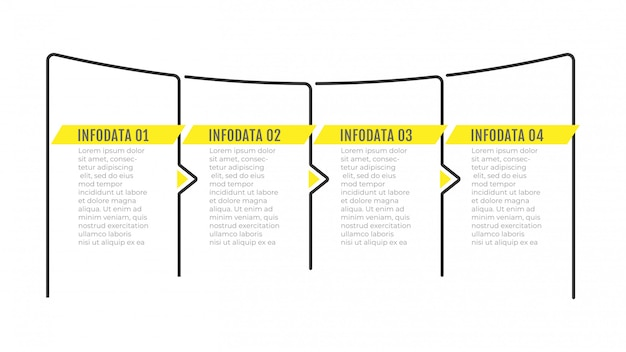 화살표와 4 가지 옵션 또는 단계가있는 인포 그래픽 얇은 라인 디자인.