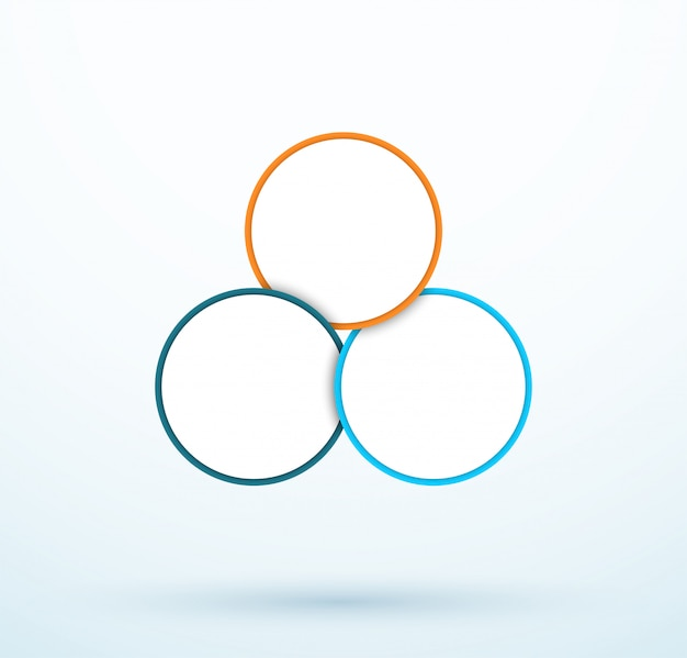 Infographic three circle diagram linked segments