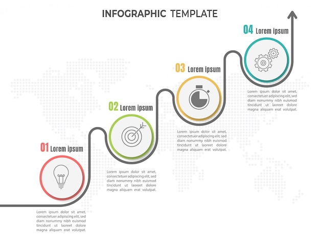Infographic timeline 4 steps or options.