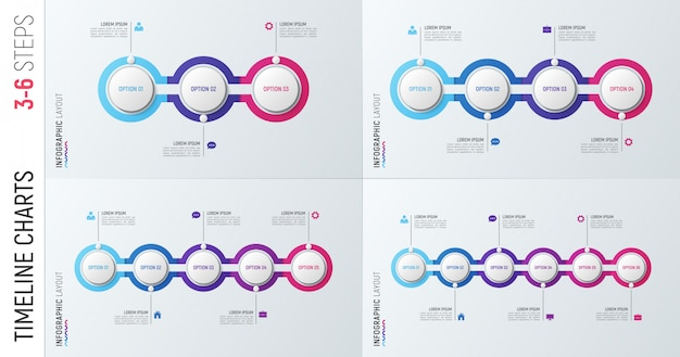 Infographic timeline charts. 3-6 options  templates.