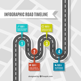 Infographic timeline concept with road