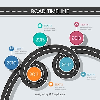 Infographic timeline concept with street