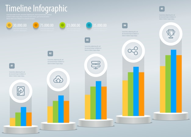 Infographic timeline report template with icons