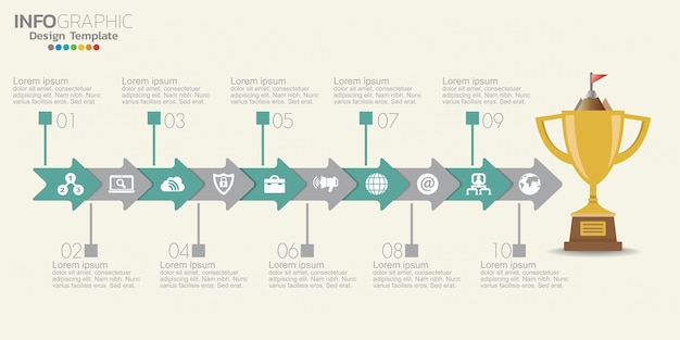 Infographic timeline template design with 6 color options