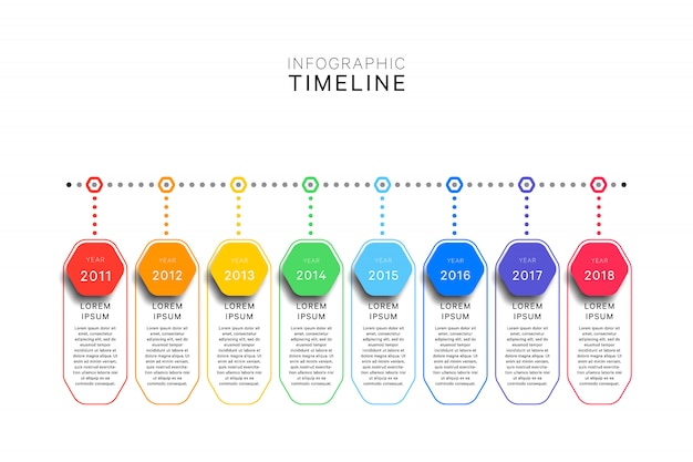 Infographic timeline template with realistic hexagonal elements on white