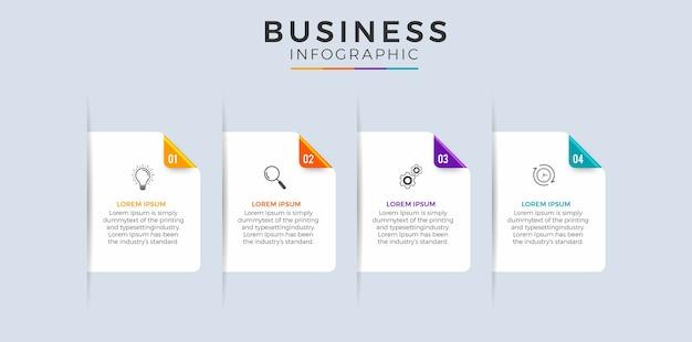 Хронология инфографики с 4-х шаговым плоским дизайном