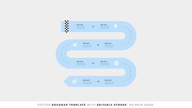 編集可能なストロークのインフォグラフィックタイムライン。ロードマップ。