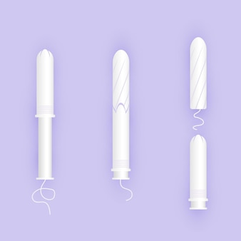 Infographic of use white tampon in the applicator. feminine products.
