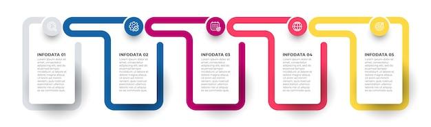 Инфографический векторный элемент дизайна с иконками временной шкалы с 5 вариантами