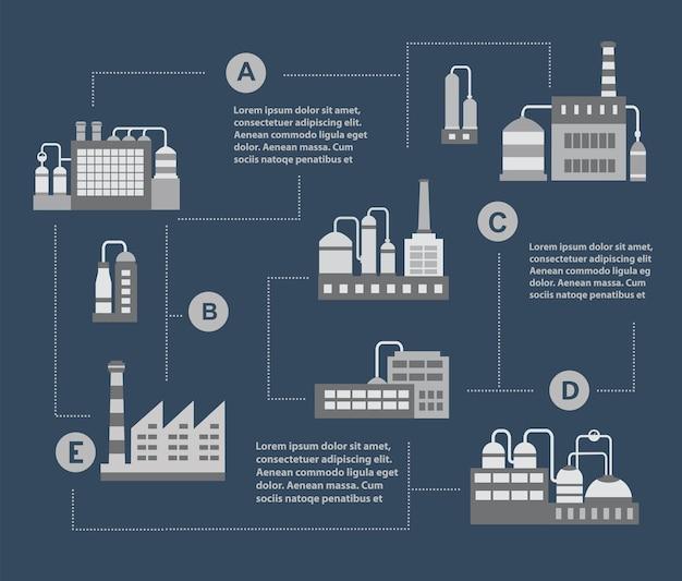 インフォグラフィックベクトル工業ビルのセット。ボイラー棟。パワービルディング。倉庫の建物。工場の建物。変電所の建物。建物都市工業用建物。