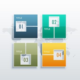 ビジネス概念ワークフローのレイアウト図やwebデザインのための4つのオプションを持つインフォグラフィックベクトルテンプレート