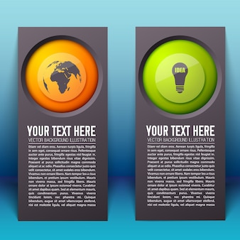Banner verticale infografica con testo e pulsanti rotondi colorati con icone di affari isolate