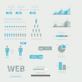 Infographic web business icon set vector