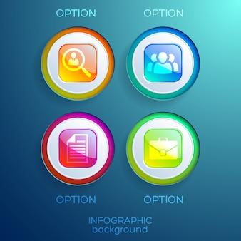 Raccolta di web design infografica con pulsanti quadrati lucidi colorati e icone di affari isolate