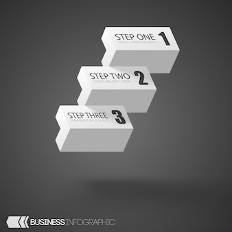 Infographic white bricks with three steps on gray